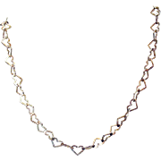 Signed Milor Italy Vintage 925 Sterling Silver Heart Chain Necklace