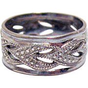 Signed Sterling Silver Abstract Heart Band Ring Size 5 1/4