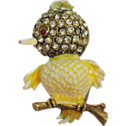 Adorable Vintage Yellow Rhinestone Enameled Figural Chic Bird Brooch