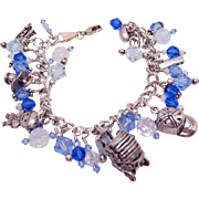 Unique Vintage Sterling Silver Glass Beaded Celebrate Boys Charm Bracelet Italian Made