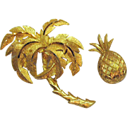 Pair of Signed Crown Trifari Vintage Figural Palm Tree Pineapple Brooches