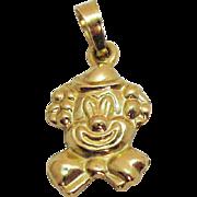 Signed 14K Gold LAC Vintage Figural Smiling Clown Charm Pendant
