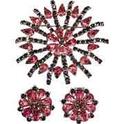 Magnificent Pink Purple Rhinestone Silver Rhodium Plated Brooch Clip Earrings Set