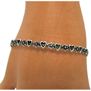 Signed Sterling Silver Heart Flower Vintage Bangle Bracelet