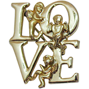 Unusual Signed Luca Razza Vintage Figural Angel LOVE Golden Brooch