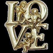 Unusual Signed Luca Razza Vintage Figural Angel LOVE Golden Brooch