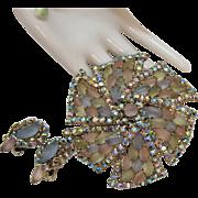 Amazing Vintage Huge Pastel Frost Cabochon Rhinestone Tiered Brooch Earrings Set