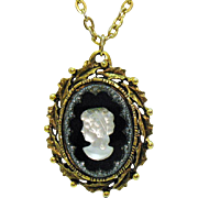Unique Vintage Glass Black White Marcasite Cameo Necklace Heavy Bamboo Leaf Frame
