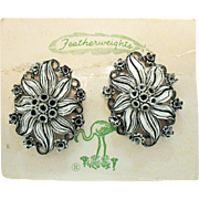 Vintage Signed Featherweights Celluloid Clip Earrings on Original Card