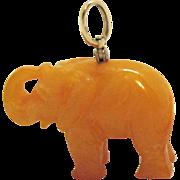 Genuine Amber Vintage Figural Elephant 14K Gold Swivel Bale Pendant Charm 3D