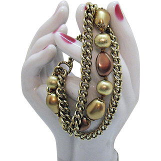 Signed Monet Vintage Earth Tone Beaded Chain Bracelet