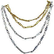Signed Napier Vintage Fancy Chain Necklaces One Silver One Gold