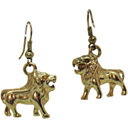 Unique Vintage Figural Lion Pierced Earrings