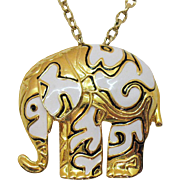 Big Bold Amazing Convertible Elephant Vintage Pendant Necklace or Brooch