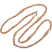 Gorgeous Peachy Pink Signed RMN Faceted Glass Beaded Vintage Necklace