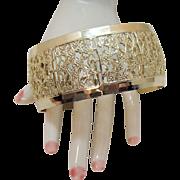 Vintage Eloxal Aluminum Yellow Gold Floral Wide Cuff Bracelet