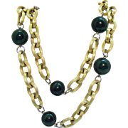 Signed Les Bernard Vintage Heavy Chain Faux Jade Beaded Necklace