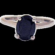 Vintage Sterling Silver 925 Black Spinel Signed STS 2 Carat Solitaire Ring
