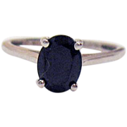 Vintage Sterling Silver 925 Black Spinel Signed STS 2 Carat Solitaire Ring