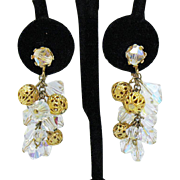 Shimmery Crystal Filigree Ball Chain Dangle Vintage Clip Earrings