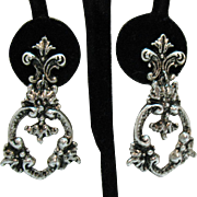 Signed Florenza Vintage Clip Earrings Victorian Revival Style Silver