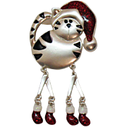 The Most Adorable Figural Kitty Cat Vintage Winter Enameled Brooch with Dangling Legs Feet