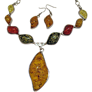 Bold Vintage Stainless Steel Amber Necklace Pierced Earrings Set Multi Colors
