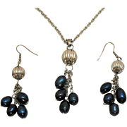 Vintage Baroque Freshwater Pearl Navy Blue Necklace Pierced Earrings Set Stainless Steel Unworn