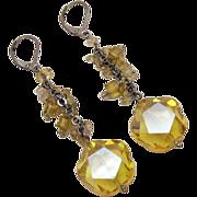 Unique Vintage Floral Shaped Lemon Quarts Dangle Pierced Earrings Unworn