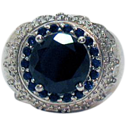 Bold Vintage 4 ½ Carat Black Spinel Blue Sapphire Ring Platinum Bond Brass