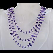 Vintage Amethyst Gemstone Stainless Steel Three Strand Necklace
