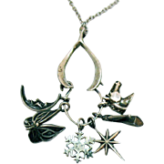 Signed FM Franklin Mint 1979 Wonderful Vintage Sterling Silver 925 Wish Bone Charm Holder Necklace with Charms