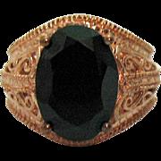 Signed Karis Vintage 18K Rolled Gold over Brass 7 Carat Black Spinel Ring