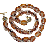 Chunky Link Lucite Clear Root Beer Vintage Chain Necklace