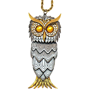 Biggest and BEST Vintage Articulated Owl Pendant Necklace 5 ¾ Inches Long 130 grams!