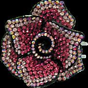 Exquisite Bold Vintage Pink Rose Flower Rhinestone 3D Bracelet