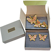 Vintage 1979 Spring Butterfly Pink Enameled Brooch Pierced Earrings Set Original Box Unworn