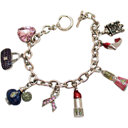 Super Fun Vintage Girly Girl Silver Metal Charm Bracelet