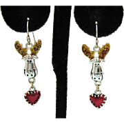 Adorable Vintage Figural Moose Pierced Earrings Enameled Ears Dangle Heart