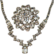 Gorgeous Signed Weiss Vintage Crystal Rhinestone Brooch Necklace Set