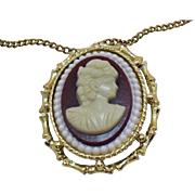 Large Vintage Convertible Brooch Necklace Resin Cameo
