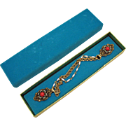 Unique Vintage Sweater Guard Glass Coral Faux Seed Beads Original Box
