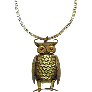Articulated Figural Owl Bird Signed Hong Kong Pendant Necklace Vintage 1960s