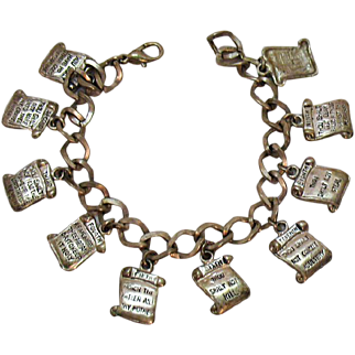 Vintage Silver Metal 10 Commandments Jewelry of Faith Charm Bracelet