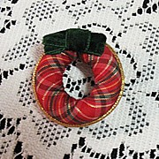 Vintage Christmas Wreath Brooch Pin Velvet Ribbon Signed Avon