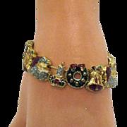 Vintage Enameled Christmas Slide Charm Bracelet