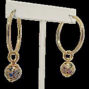 Unique Vintage Cloisonné Hoop Adornment Orbs for Pierced Earrings