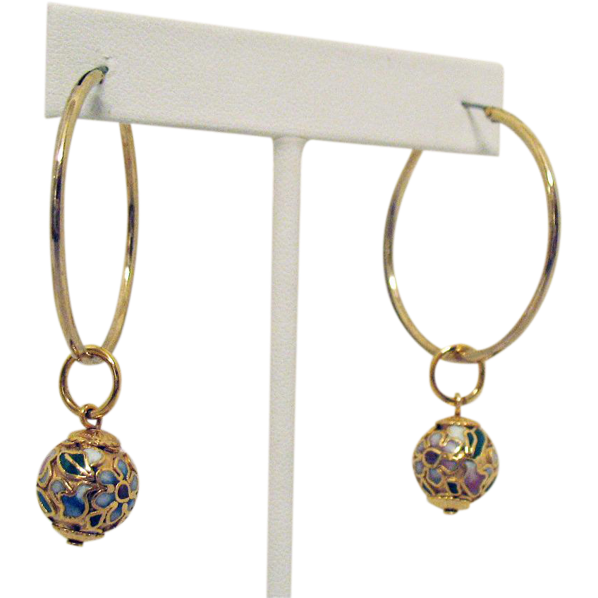 Unique Vintage Cloisonné Hoop Adornment Orbs for Pierced Earrings