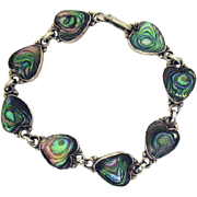 Signed ICM Mexican Sterling Silver Inlay Abalone Heart Bracelet