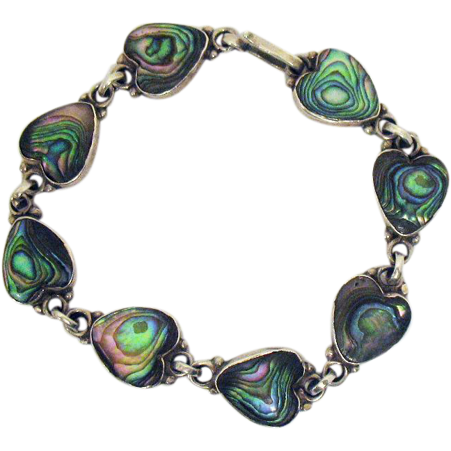 Signed ICM Mexican Sterling Silver Vintage Inlay Abalone Heart Bracelet